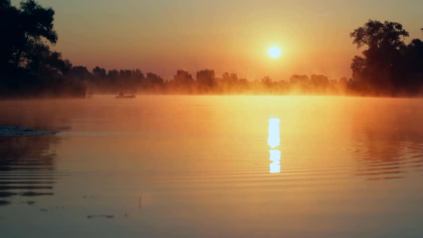 sunrise on the lake, sunrise over river, Fisherman on the boat on the sunrise, morning Landscape, morning fishing #4817567