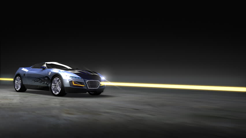 Racing Sports Car With Abstract Light Streaks Hd Stock Video Clip