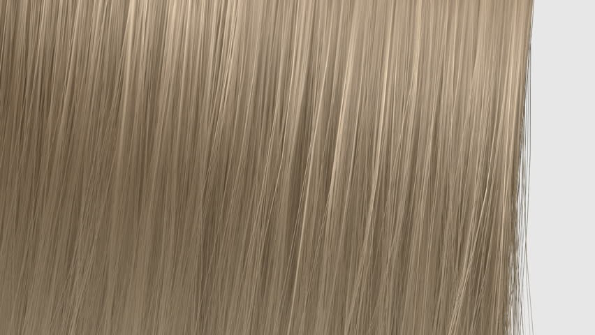 An abstract view of a bunch of blonde straight hair moving left then right on an isolated white background
