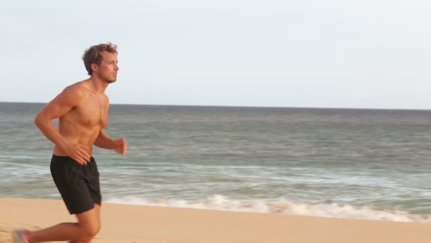 Slow Motion Young Half Naked Man Walk Along The Beach In The City Stock Footage -9065