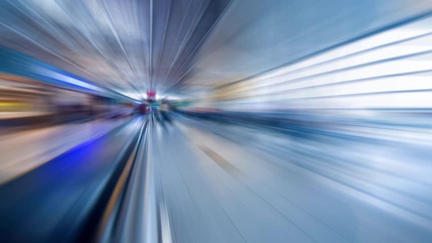 Blurred motion movement in futuristic airport terminal. Timelapse.   Shutterstock HD Video #4841816