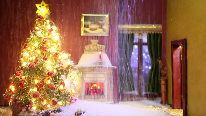 Snowstorm On Christmas In Doll`s House   HD Stock Video Clip