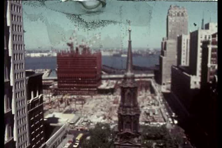 1970s - Silent footage of the building of the World Trade Center in the 1960s.   Shutterstock HD Video #4853636