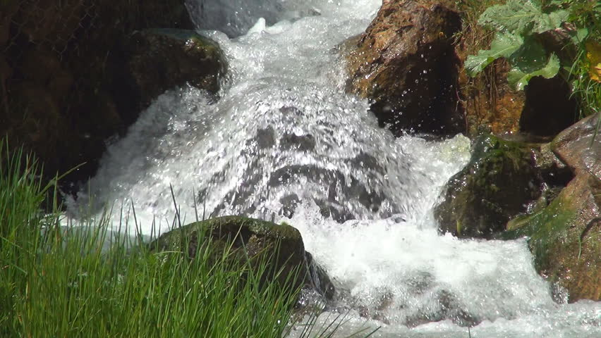 Mountain River Landscape of Nature, Stream, Creek, Brook, Small Waterfall