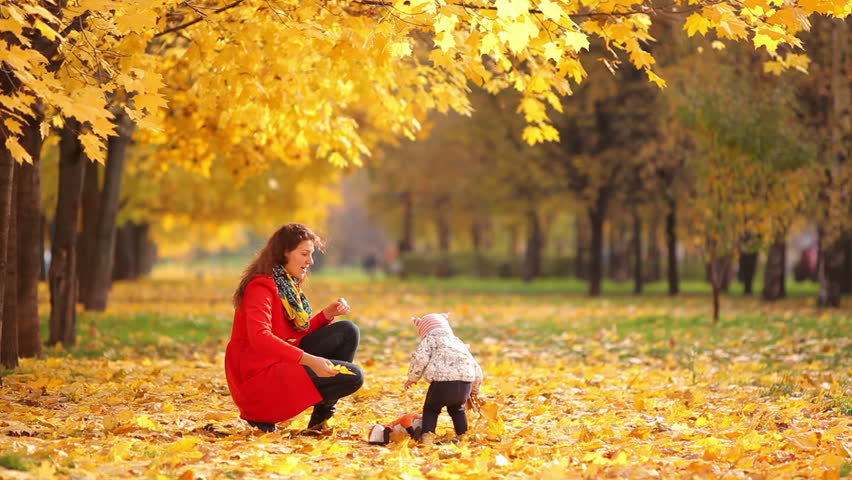 Mother and baby playing in a beautiful autumn park | Shutterstock HD Video #4862942