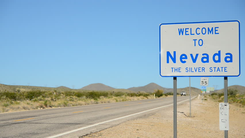 Welcome To Nevada Road Sign - The Silver State Stock Photo