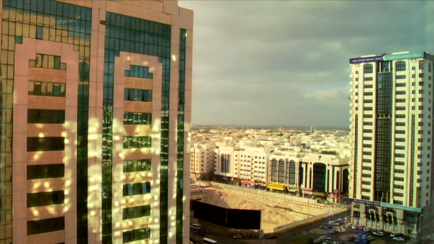Time lapse of modern buildings and skyscrapers in Abu Dhabi in the United Arab Emirates.
