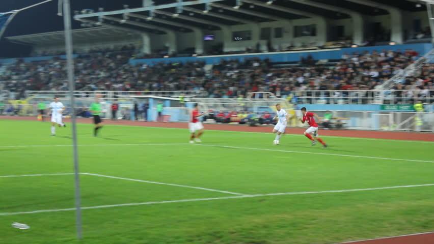 RIJEKA, CROATIA - OCTOBER 09: soccer match between HNK Rijeka and Zmaj (1/16 final Croatian National Cup) 2013. in Rijeka, Croatia. Andrej Kramaric (Rijeka) scores a goal.