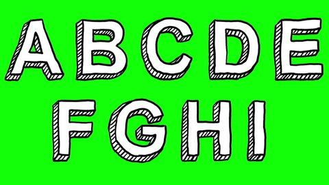 An animated hand-drawn font isolated over a keyable green background, with all the letters, punctuation, and numbers.