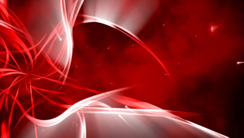 Abstract Floral Ornaments On Red Background Passing Camera The