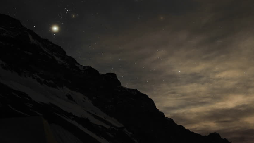 Aconcagua Time lapse Night: Stars dancing in the sky with tent