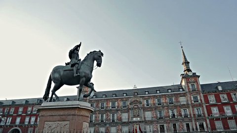 Monument rider on a horse in Madrid