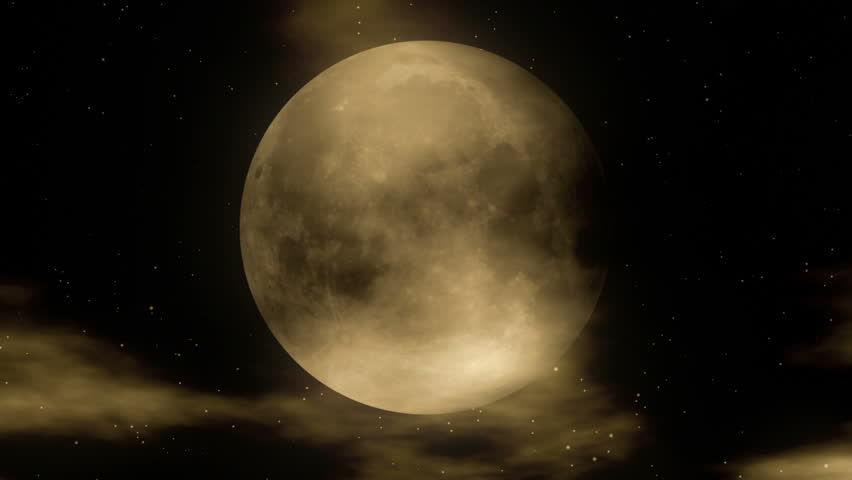 Moon 1 - Stylized Night Video Background Loop // A full moon with clouds passing in front and stars in the background. Nice for Halloween parties, midnight parties or as a mystery DVD/BluRay backdrop.