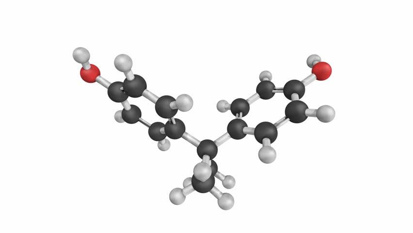 Bisphenol A. Molecular structure on a white background
