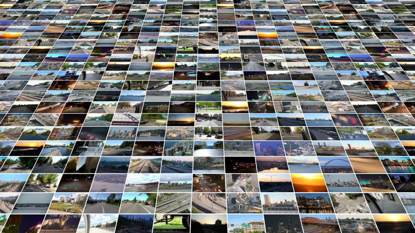 A full screen video wall at an offset angle moving at an angle away from camera. There are 169 different individual videos in this video wall that are all transportation related.