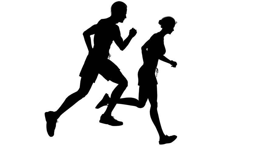Animated silhouette loop of a man and woman running on a white background