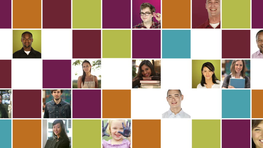 Grid of portraits - diverse people in various settings and colorful square pattern on white