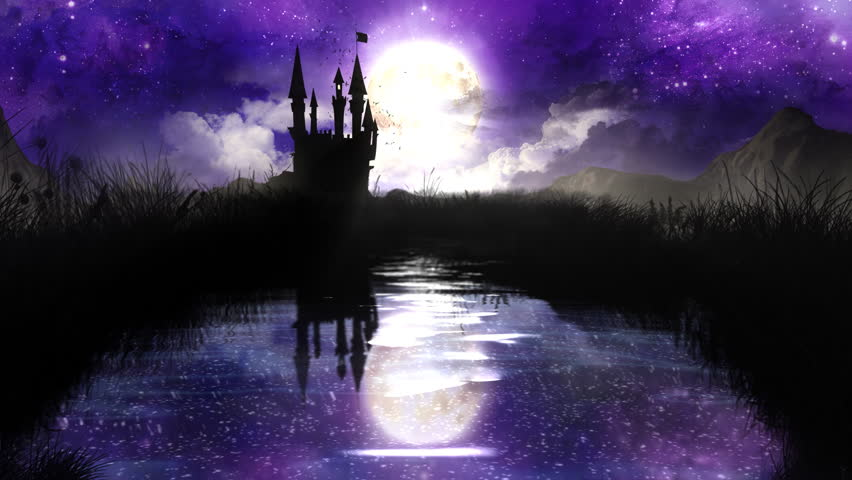 Magic Night over the pond with castle - loop.