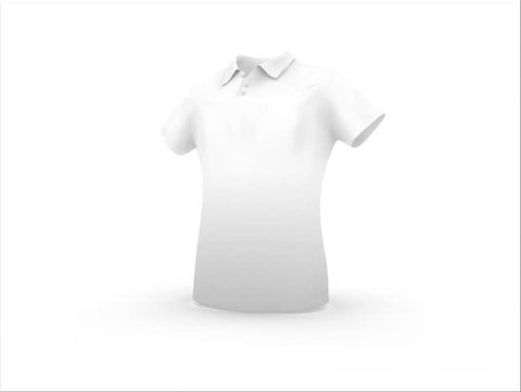 Template of white t-shirt, isolated on white background
