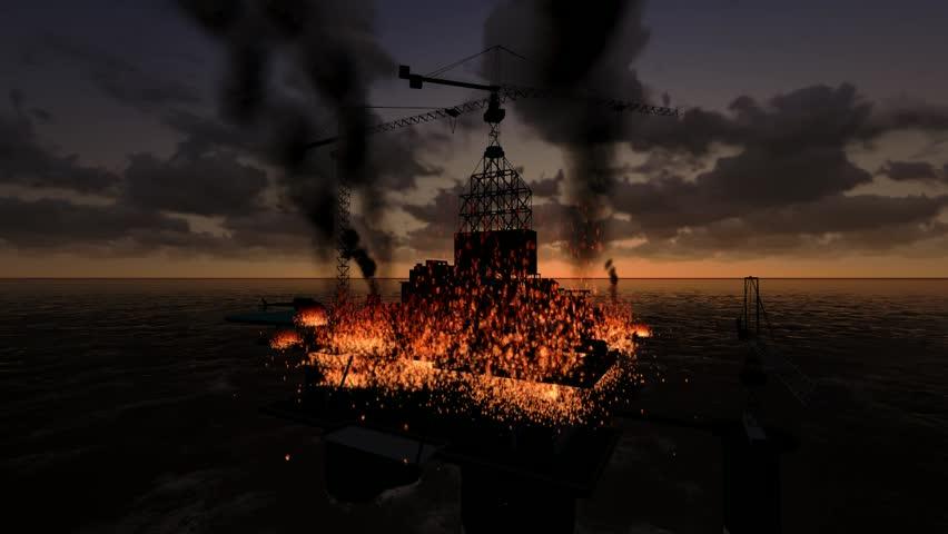 Animation, Offshore oil platform caught fire.