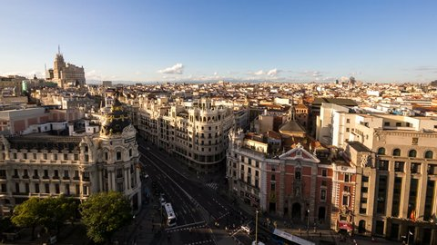 MADRID - 27 OCT: Timelpase view of Madrid city in the afternoon. Madrid is the capital city of Spain and its largest city rich in landmarks and history on 27 October 2013 in Madrid, Spain