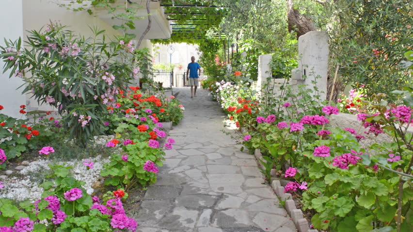 Walking Through A Flower Garden Hd Stock Footage Clip