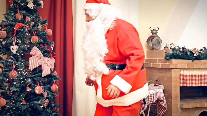Fake Christmas Fireplace.A Fake Santa Claus Coming Stock Footage Video 100 Royalty Free 5045486 Shutterstock