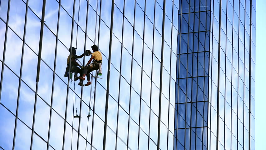 Skyscraper Window Glass Cleaner Stock Footage Video 5065796 ...