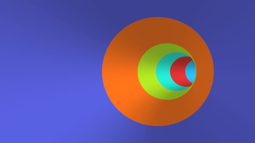 Looping trough a colorful  abstract tunnel. 3D animation of flying trough a curved tunnel.
