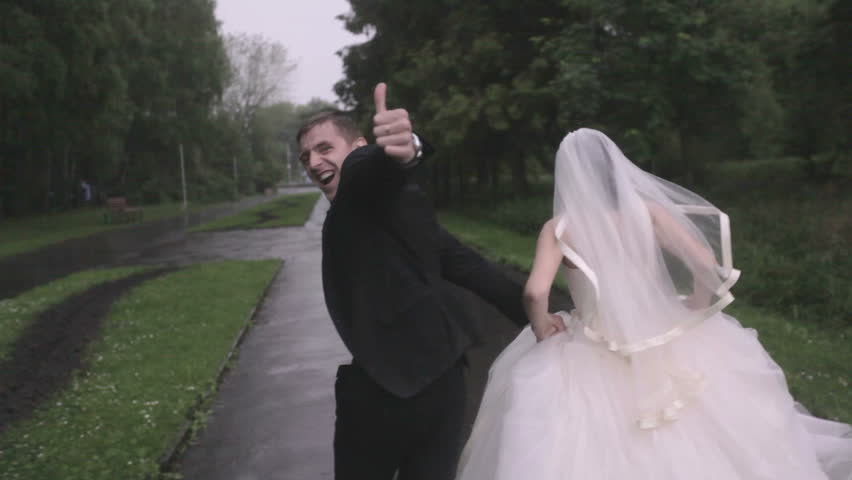wedding day, couple running cheering HD