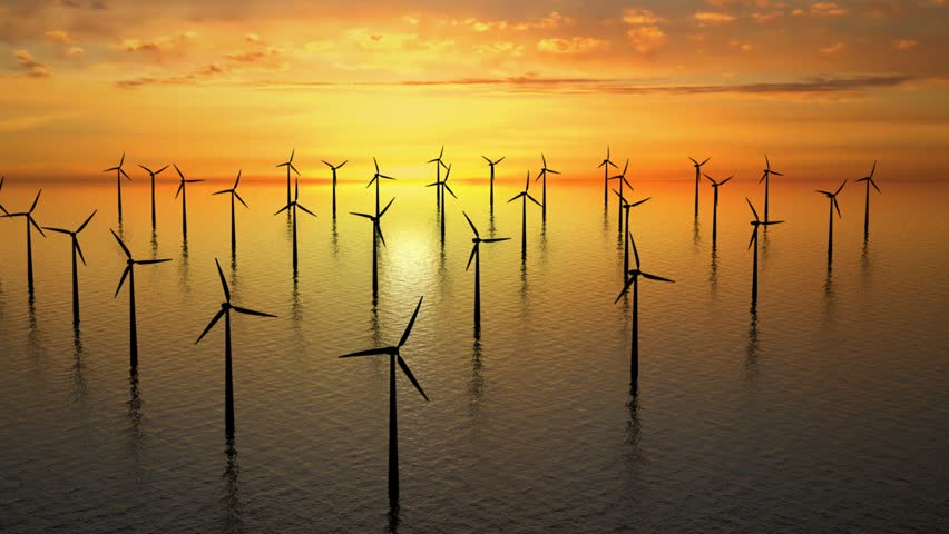 Wind farm near Denmark at sunset on sea - high definition footage.
