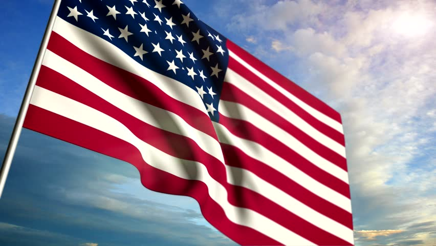 Animation of the American flag in the background with a blue sky