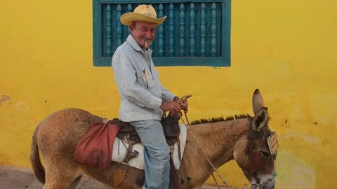 Trinidad, Cuba  - 8/14/13 - old man with cowboy hat with donkey for rides in center of old colonial city