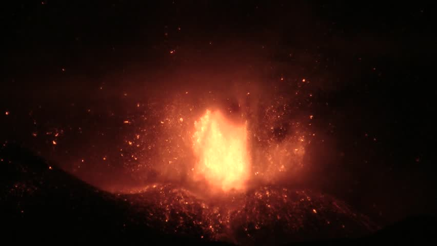 Lava fountain of Etna volcano