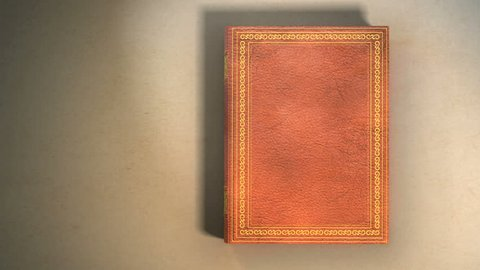 Leather covered book with ornaments lying on the table. Book opening with turning pages. Includes Mate for Transition.
