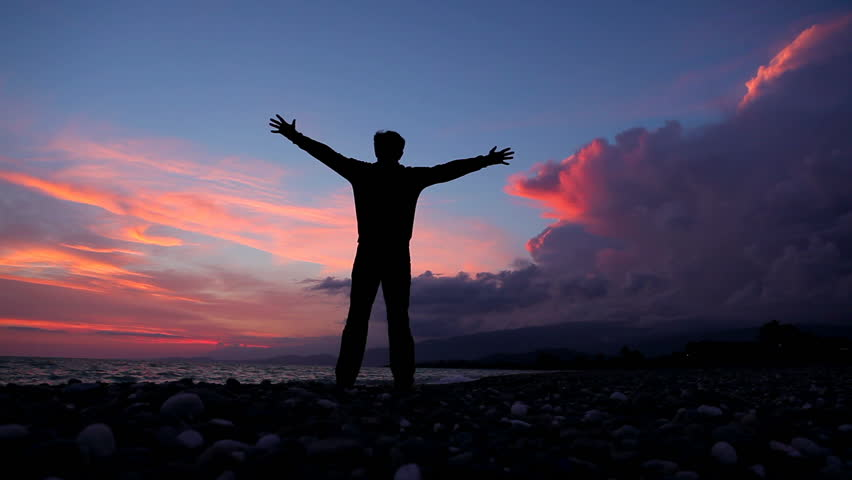 Silhouette Of Man On The Sunset. Freedom Concept. Stock Footage Video 1379626...