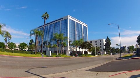 ANAHEIM, CA: November 16, 2013- Wide shot of the Anaheim Regional Medical Center building circa 2013 in Anaheim. This clip features the medical professional building attached to the main hospital.