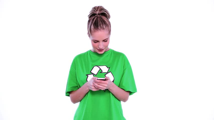 Cheerful attractive environmental activist using her smartphone on white screen   Shutterstock HD Video #5111606