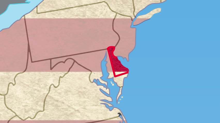 Delaware DE Red State Map Name D Animation Stock Footage Video - Delaware usa map