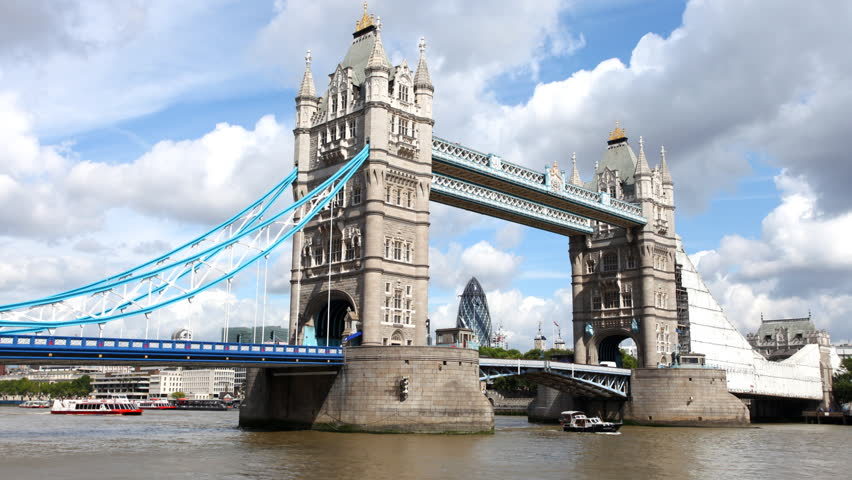 timelapse shot of tower bridge in london, on a nice summer day, london