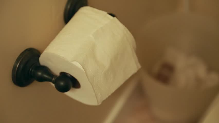 A hand grabs toilet paper from a toilette paper dispenser