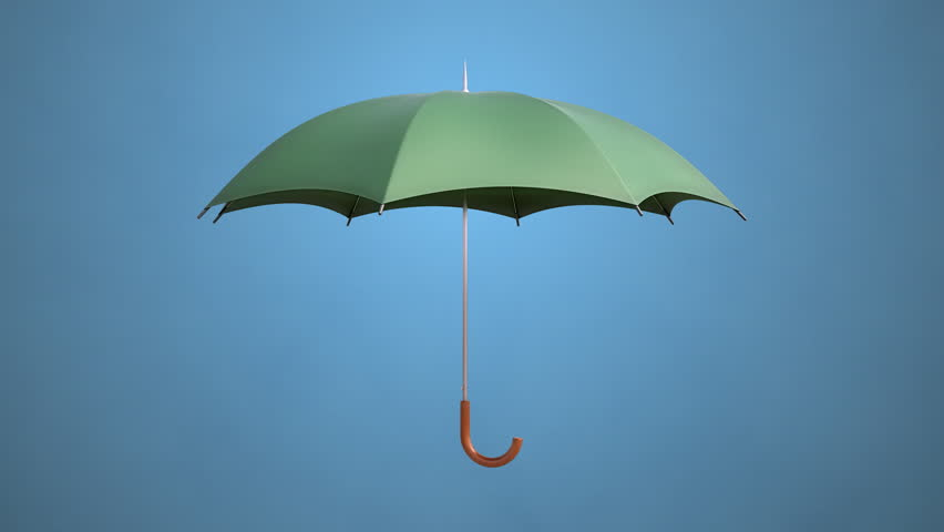 This is a CG animation of a folding and then opening umbrella.