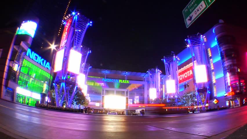 Los Angeles, California, USA - January 2010 - Driving through LA streets at night