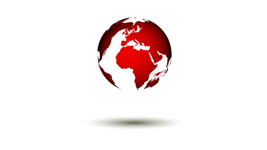 Loopable Red World Map Spinning Stock Footage Video 100