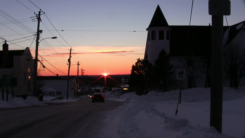 SPRINGHILL, NOVA SCOTIA - FEBRUARY 10 2013 - The sunsets over the small town of Springhill, Nova Scotia a day after the largest snowstorm of the year.