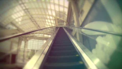 Retro look speed up escalator ride