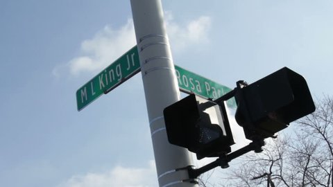 Detroit Intersection Street Signs MLK and Rosa Parks. A notorious intersection in Detroit, at Martin Luther King and Rosa Parks.