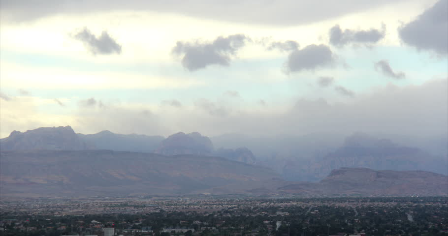 A time lapse shot of a storm approaching the the mountains near Las Vegas, Nevada. | Shutterstock HD Video #5235836