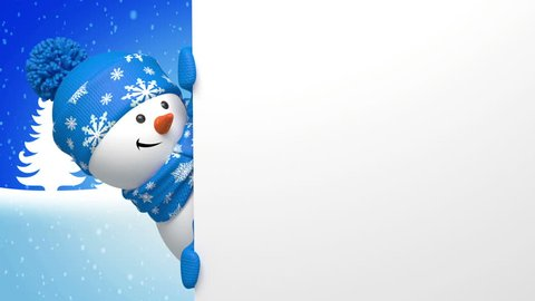 Christmas or New year snowman animated greeting card, 3d cartoon character