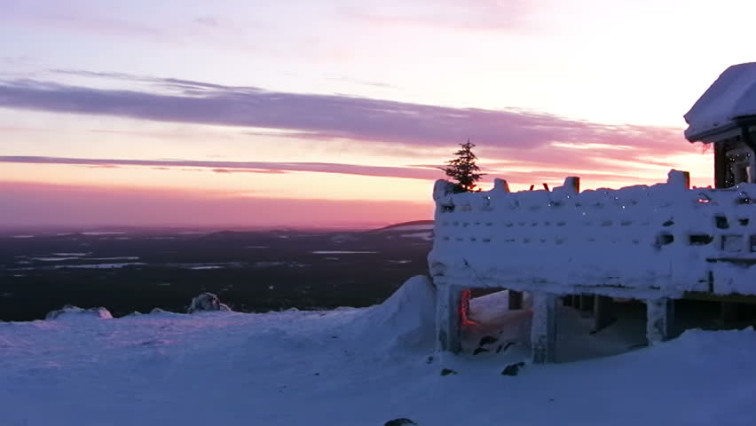 Mountains. Winter. Sunset. Snowy restaurant and signboard OPEN
